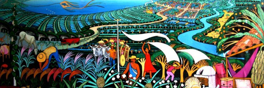 ニカラグアとホンジュラスの陸路の国境で入国